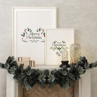Christmas livingroom with mockup poster frame and christmas tree