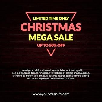 Christmas mega sale banner  neon light style