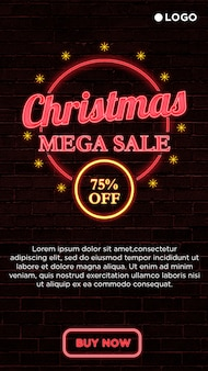 Christmas mega sale square banner