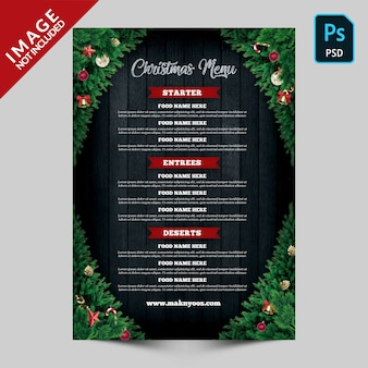 Christmas menu back side template