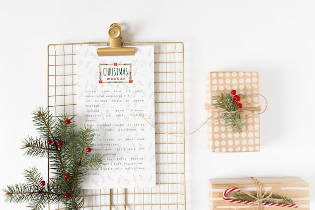 Christmas menu mockup with clipboard