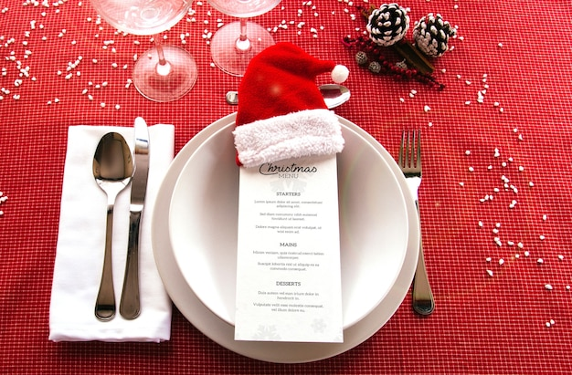 Christmas menu mockup with tableware