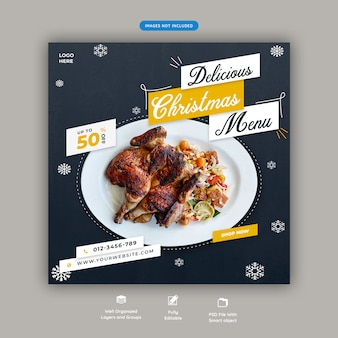 Christmas menu or restaurant food square banner template premium psd