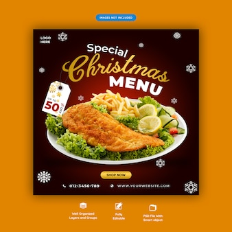 Christmas menu social media square banner template premium psd