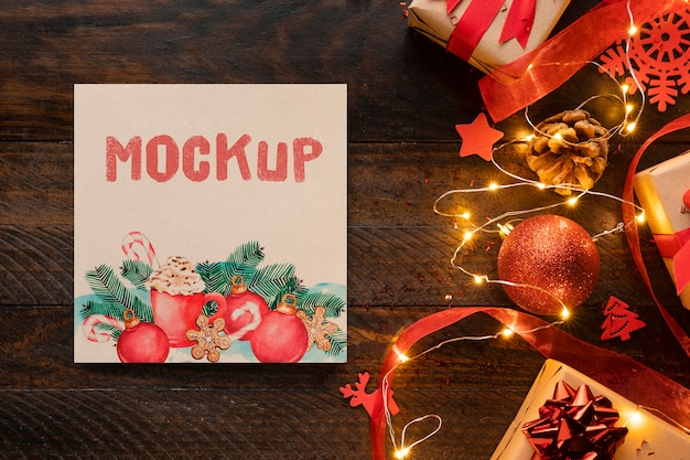 Christmas mock-up and beautiful winter decorations