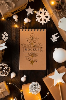 Christmas mock-up flat lay white decorations
