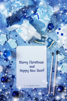 Christmas mock up for greeting card or letter to santa in blue color.