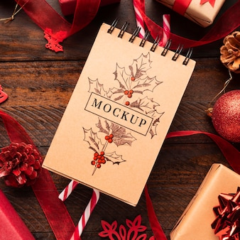Christmas mock-up top view notepad