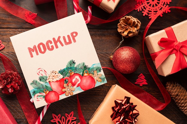 Christmas mock-up with cute boxes