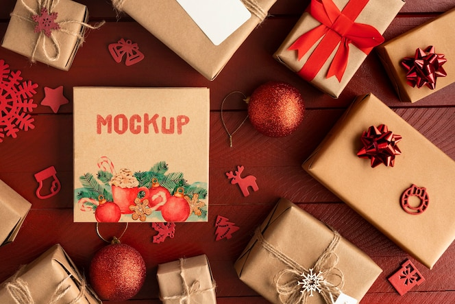 Christmas mock-up with gift boxes
