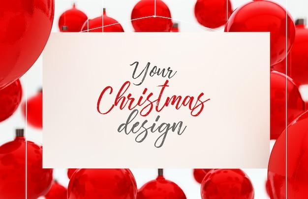 Рождественский макет карты с шарами