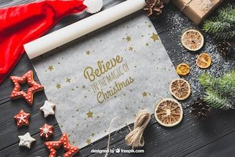 Christmas mockup on baking paper