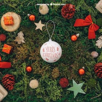 Christmas mockup with ball