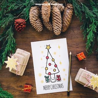 Christmas mockup with card