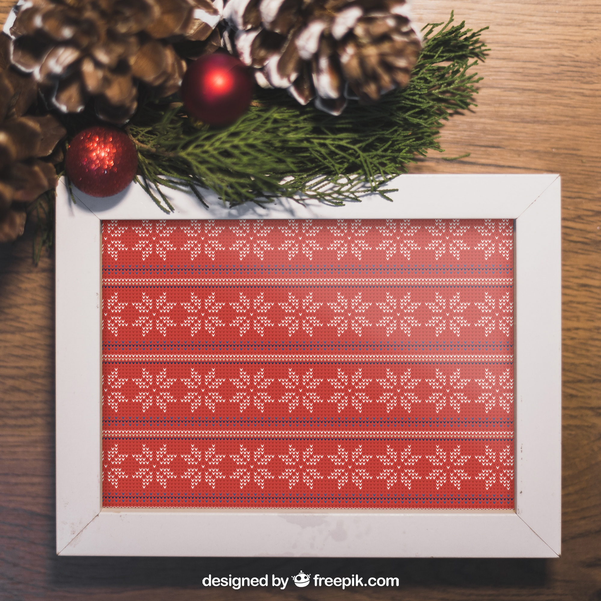 Christmas mockup with frame and pine cones