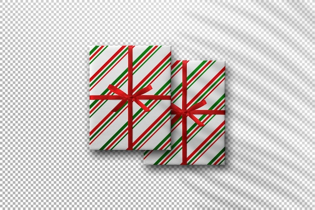야자수 잎 그림자가 있는 선물 상자가 있는 크리스마스 모형