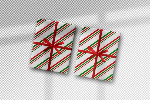 그림자가 있는 선물 상자가 있는 크리스마스 모형