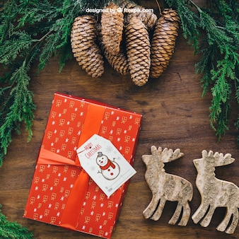 Christmas mockup with present and reindeers