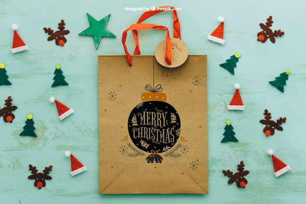 Christmas mockup with shopping bag