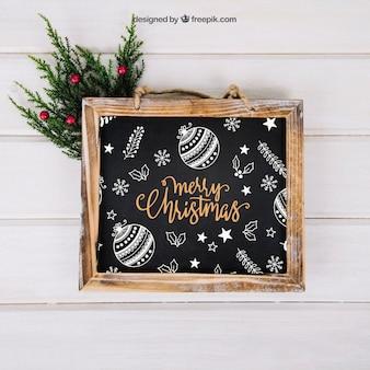 クリスマスモックアップ、スレート、ミドリトー