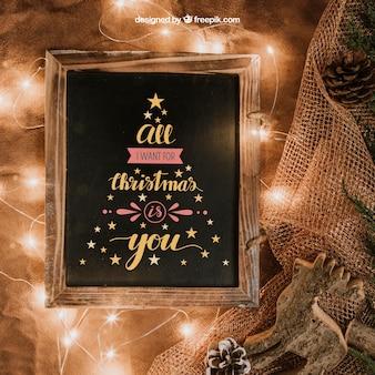Christmas mockup with slate and lights