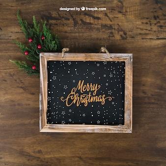 スレートとヤドリギのクリスマスモックアップ