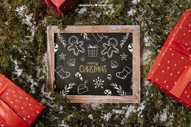Christmas mockup with slate and presents