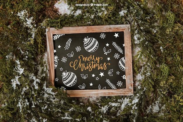Christmas mockup with slate and snow