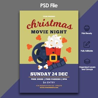 Christmas movie flyer template