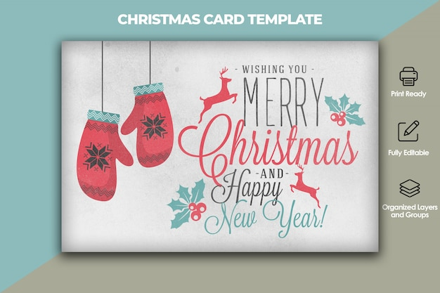 Christmas and new year card template