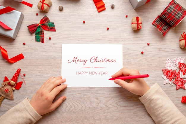 Christmas and new year greeting card mockup