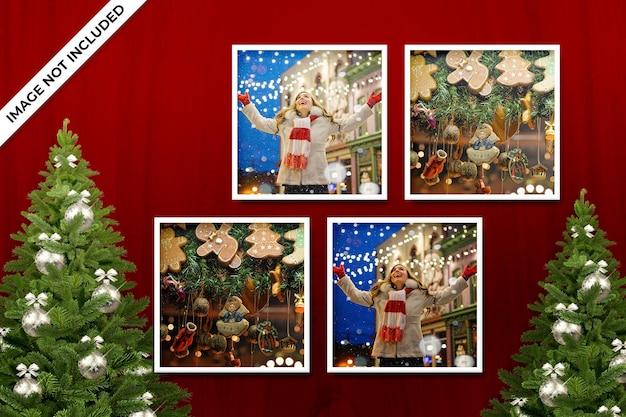 Christmas or new year photo frame mockup psd