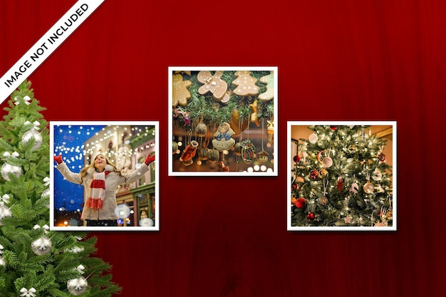 Christmas or new year photo frame mockup