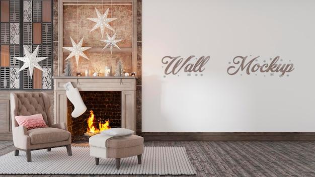 Рождественский новогодний макет стены с елочными украшениями камин premium psd