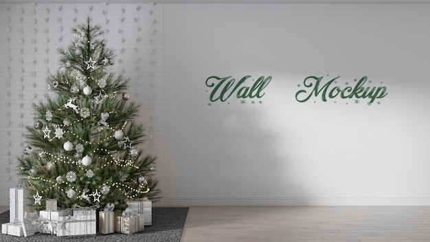 Christmas new year  wall mockup with christmas decorations premium psd