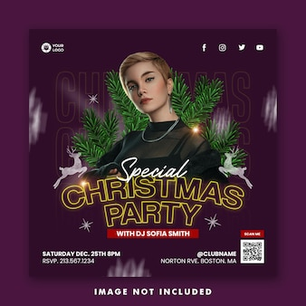Christmas night party social media post square banner template