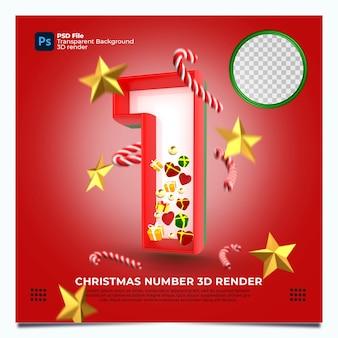 레드 그린 골드 색상 및 요소와 크리스마스 번호 1 3d 렌더링