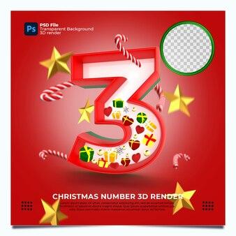 레드 그린 골드 색상 및 요소와 크리스마스 번호 3 3d 렌더링