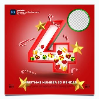 레드 그린 골드 색상 및 요소와 크리스마스 번호 4 3d 렌더링