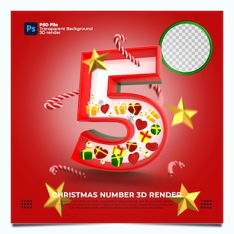 레드 그린 골드 색상 및 요소와 크리스마스 번호 5 3d 렌더링