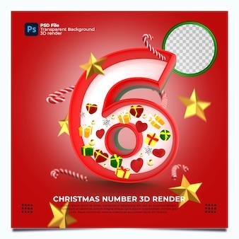 레드 그린 골드 색상 및 요소와 크리스마스 번호 6 3d 렌더링