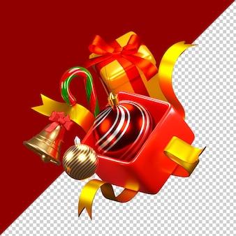 Рождественские украшения изолированные 3d визуализации