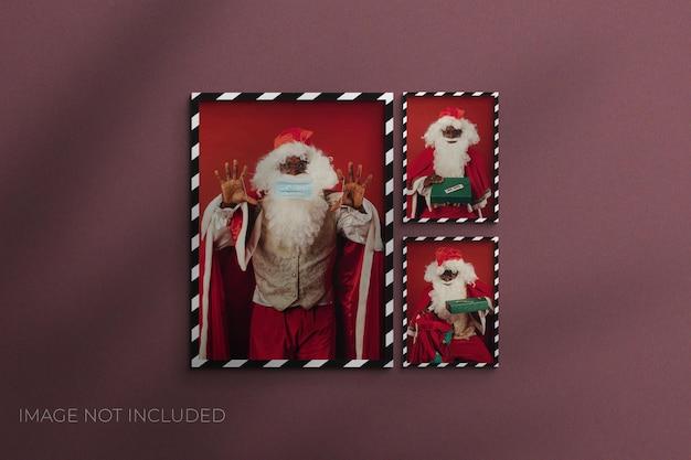 Рождественский макет фоторамки из бумаги premium psd