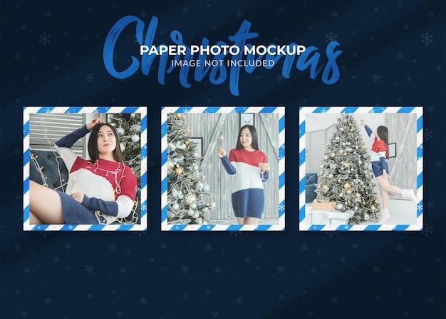 クリスマスの紙の写真のモックアップデザイン