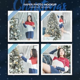 Christmas paper photo mockup design