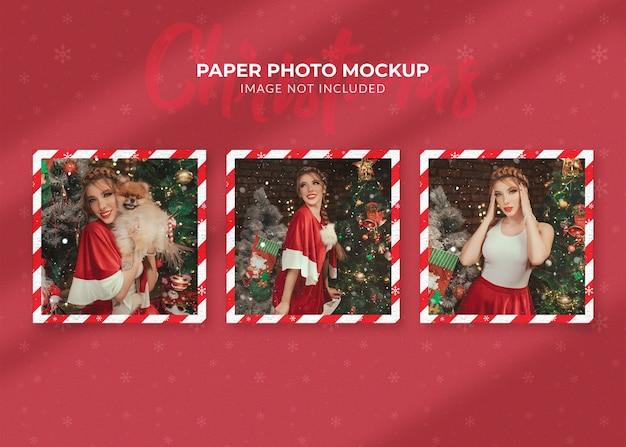 クリスマスの紙の写真のモックアップ