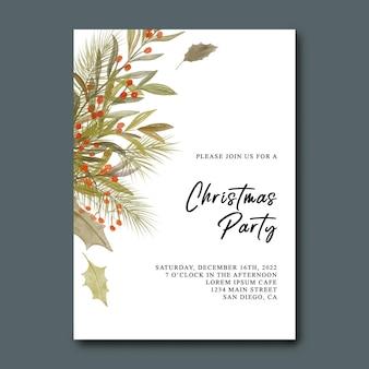 Рождественская вечеринка с акварельными рождественскими листьями и украшениями из сосновых листьев