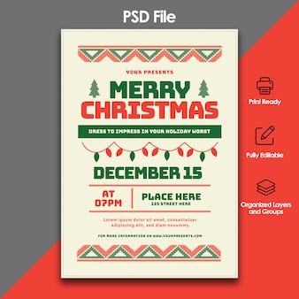 Christmas party and celebration flyer template