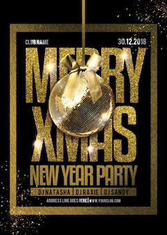 Christmas party flyer template in gold & black