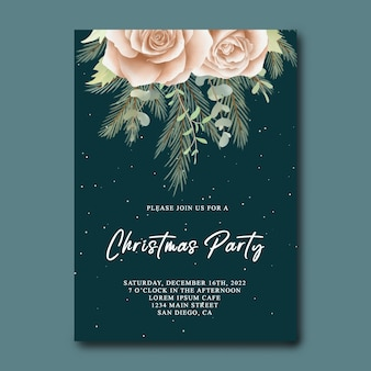 Рождественская вечеринка пригласительный билет с акварельными цветами